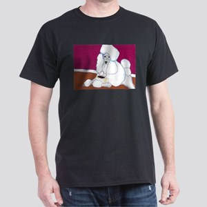 White Poodle Coffee Dog Black T-Shirt