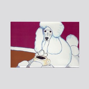 White Poodle Coffee Dog Rectangle Magnet