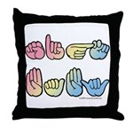 Pastel SIGN BABY SQ Throw Pillow