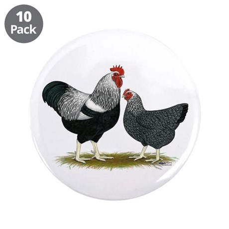 """Plymouth Rock Penciled Chick 3.5"""" Button (10 pack)"""