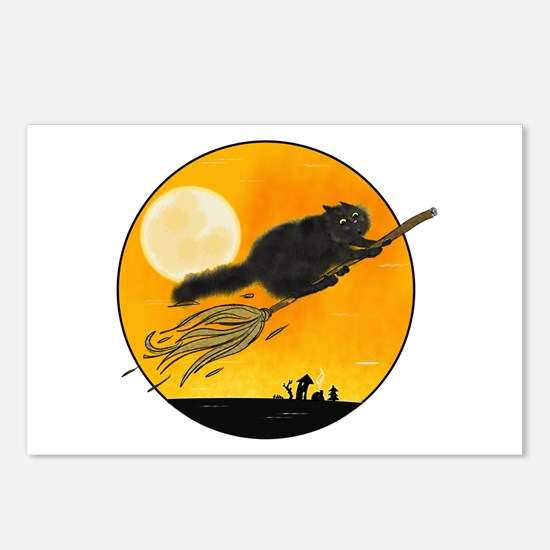 Halloween black witch cat on broom Postcards (Pack