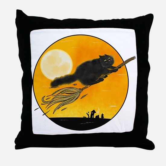 Halloween black witch cat on broom Throw Pillow