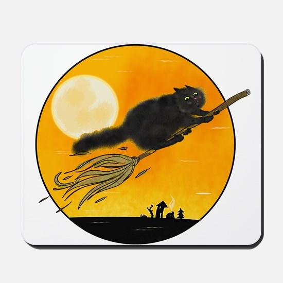 Halloween black witch cat on broom Mousepad