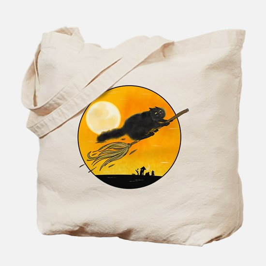 Halloween black witch cat on broom Tote Bag