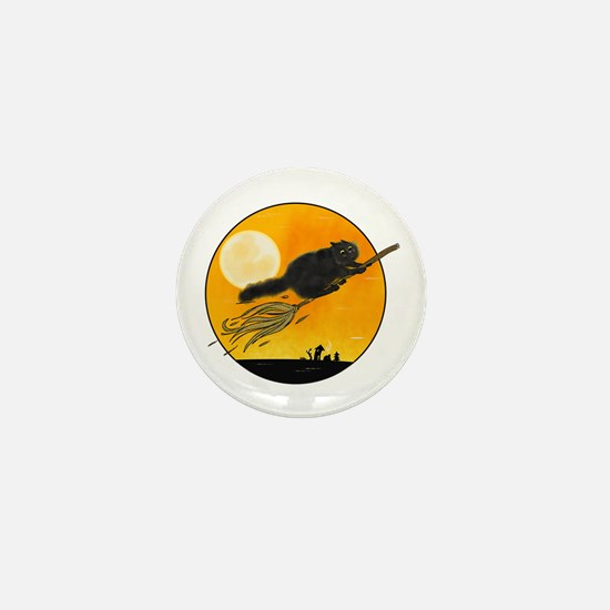 Halloween black witch cat on broom Mini Button
