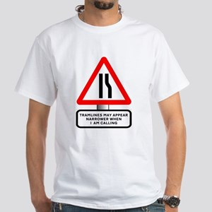 Tramlines Narrow - Mens White T-Shirt