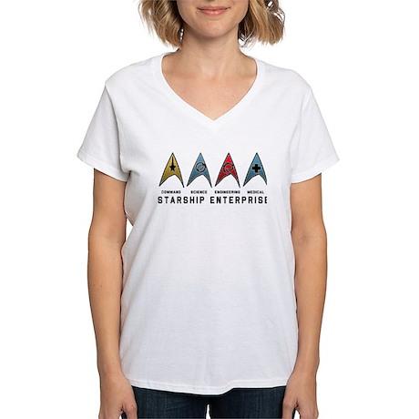 Starfleet Emblems Women's V-Neck T-Shirt
