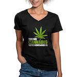 Cannabis Women's V-Neck Dark T-Shirt