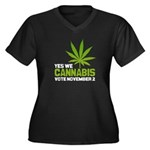 Cannabis Women's Plus Size V-Neck Dark T-Shirt