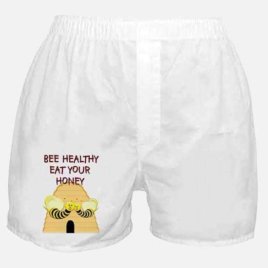 """""""Bee Healthy, Eat Your Honey"""" Boxer Shorts"""