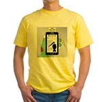 Brains - a Zombie Smart Phone Searc Yellow T-Shirt