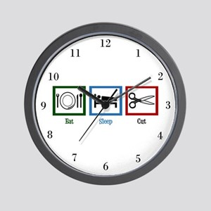 Eat Sleep Cut Wall Clock