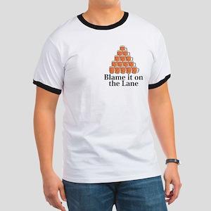Blame It On The Lane Logo 7 Ringer T Design Front