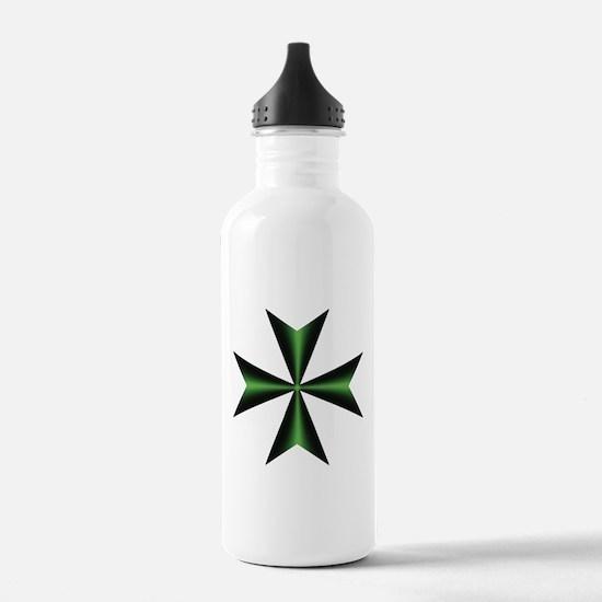 Green Maltese Cross Water Bottle