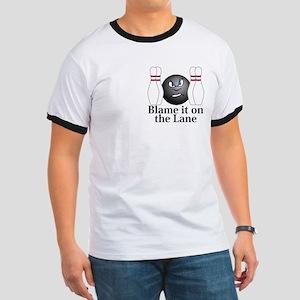 Blame It On The Lane Logo 3 Ringer T Design Front
