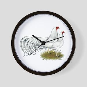 Yokohama White Chickens Wall Clock