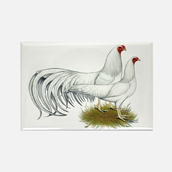 Yokohama White Chickens Rectangle Magnet