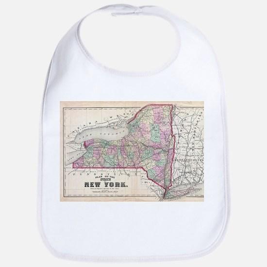 Vintage Map of New York (1873) Baby Bib