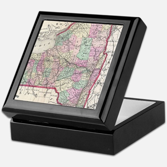 Vintage Map of New York (1873) Keepsake Box
