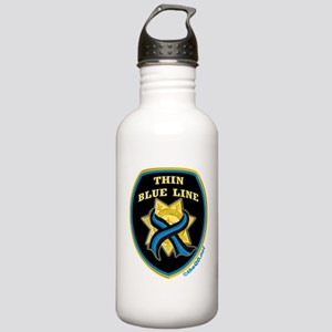 Thin Blue Line Ribbon Shield Stainless Water Bottl