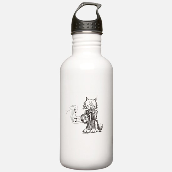CatoonsT French Horn Cat Water Bottle