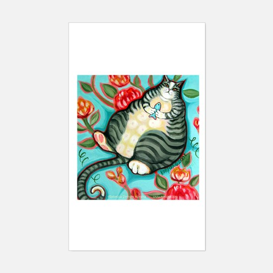 Tabby Cat on a Cushion Rectangle Decal