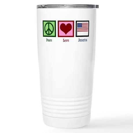 Peace Love America Stainless Steel Travel Mug