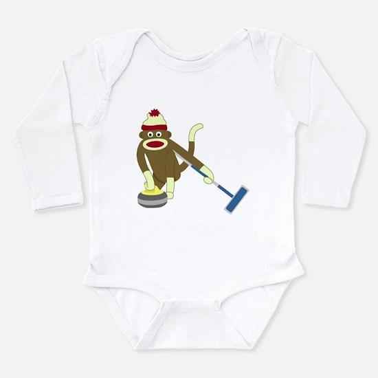 Sock Monkey Curling Long Sleeve Infant Bodysuit