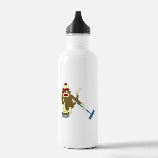 Sock Monkey Olympic Curling Water Bottle
