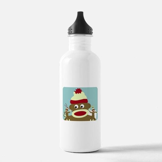 Sock Monkey Angel Devil Water Bottle