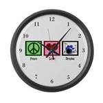 Peace Love Drums Large Wall Clock