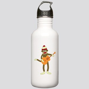 Sock Monkey Acoustic Guitar Stainless Water Bottle