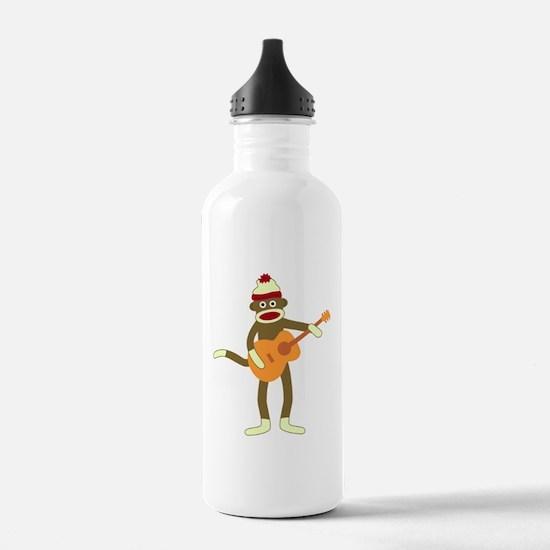 Sock Monkey Acoustic Guitar Water Bottle