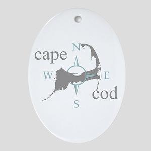 Cape Cod Compass Ornament (Oval)