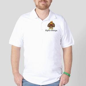 Apha Omega Logo 13 Golf Shirt Design Front Pocket