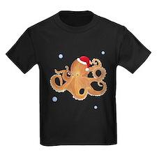 Christmas Octopus Kids Dark T-Shirt