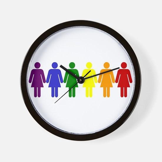 Unique Rainbow womens symbol Wall Clock