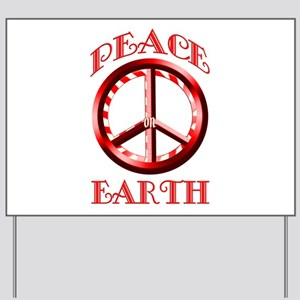 Candy Cane Peace on Earth Yard Sign