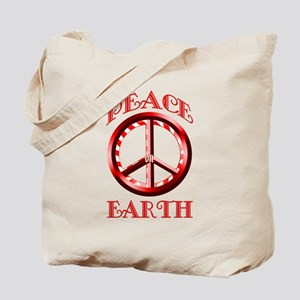 Candy Cane Peace on Earth Tote Bag