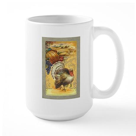 Vintage Thanksgiving design Large Mug
