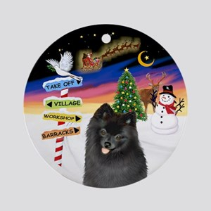 Xsigns-Black Pomeranian Ornament (round)