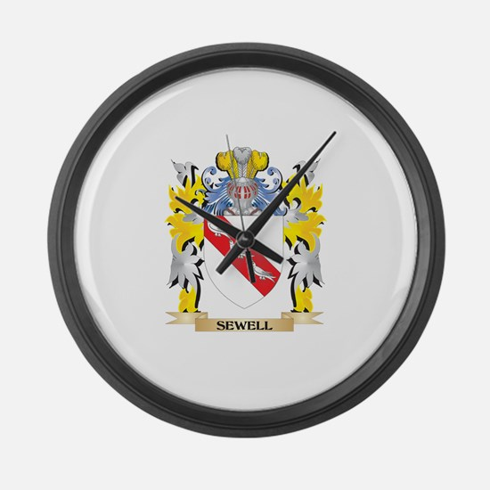 Sewell Family Crest - Coat of Arm Large Wall Clock