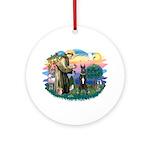 St Francis2-Great Dane (black) Ornament (Round)