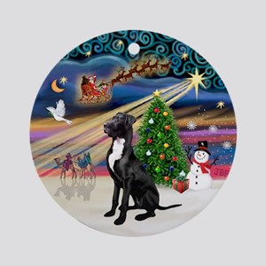 Xmas Magic-Great Dane (blk-nat.)Ornament (Round)