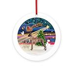 Xmas Magic-Greyhound (H-brindle)Ornament (Round)
