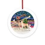 Xmas Magic - 2 Great Danes (fawn) Ornament (Round)