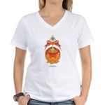 Kawaii Orange Candy Apple Women's V-Neck T-Shirt