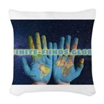 Infinite Funds Global Hand Map Woven Throw Pillow