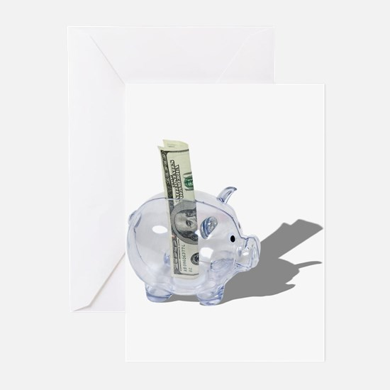 Money Piggy Bank Greeting Cards (Pk of 20)