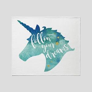 Follow Your Dreams Unicorn Throw Blanket